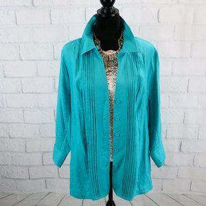 Kim Rogers Linen Turquoise Top